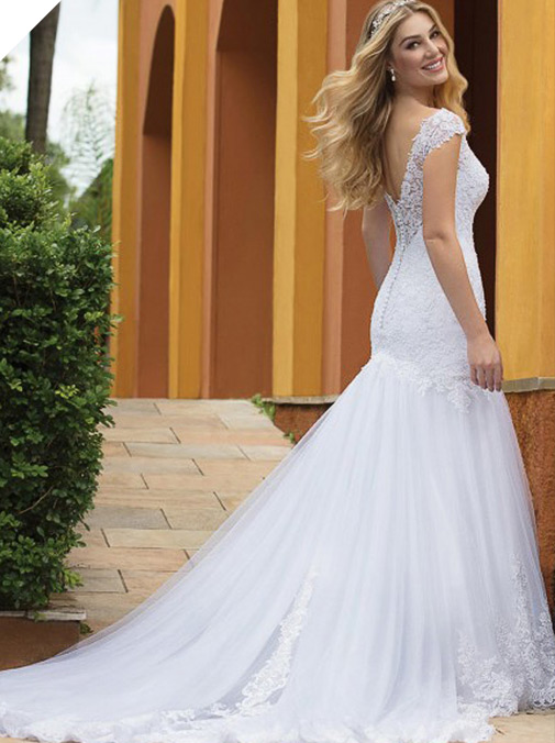 Wonderful Tulle V-neck Neckline Mermaid Wedding Dresses With Lace Appliques & Beadings