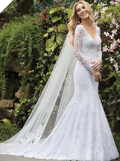 Graceful Tulle & Lace V-neck Neckline Mermaid Wedding Dresses With Lace Appliques & Beadings