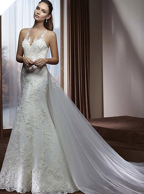 Amazing Tulle & Lace Jewel Neckline Mermaid Wedding Dress With Beaded Lace Appliques & Detachable Train