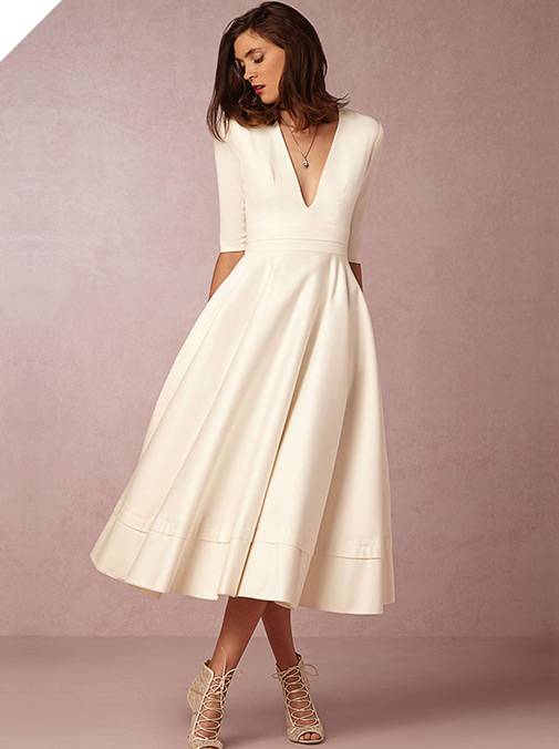 Fabulous Taffeta & Satin V-neck Neckline A-line Wedding Dresses